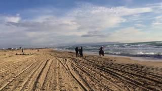 На мотоциклах зимой по пляжу в Витязево, г. Анапа