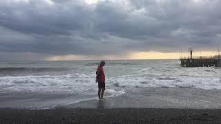 СОЧИ, Шторм . Чёрное Море. Пляж  Дагомыс.
