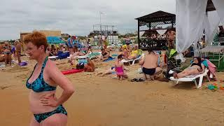 ШТОРМ и море людей. Пляжи от Аквамарина До центрального в Витязево. Анапа.  24.06.2018