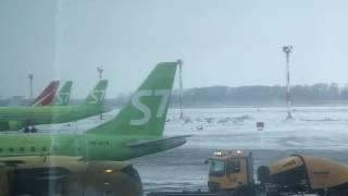Взлет самолета S7 Аэропорт Толмачево Новосибирск Aircraft takeoff Aeroport Tolmachevo Novosibirsk 4K