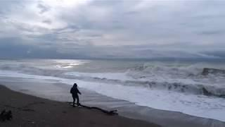 Шторм зимой. Длинное видео. Погода в Лазаревском 8 декабря 2017