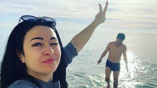 Геленджик. Купаемся в феврале в море. Пляж Сосновка.