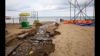 АНАПА последствия ЛИВНЕВОГО ДОЖДЯ. Ночной ПОТОП испортил Песчаный пляж. Погода Температура воды