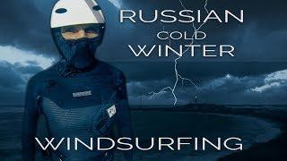 RUSSIAN COLD WINTER Windsurfing  Black sea Anapa storm  Gopro video & SLOW MOTION Windsurfing jumps